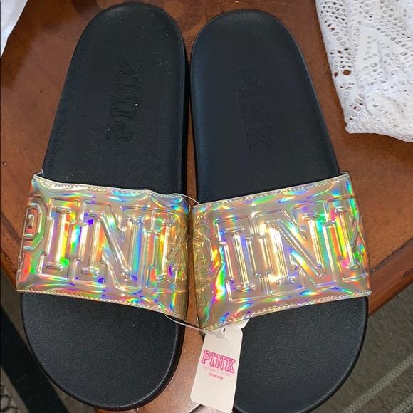 5096624b90 Pink Victoria s Secret Slides Size M 6 7 BNWT